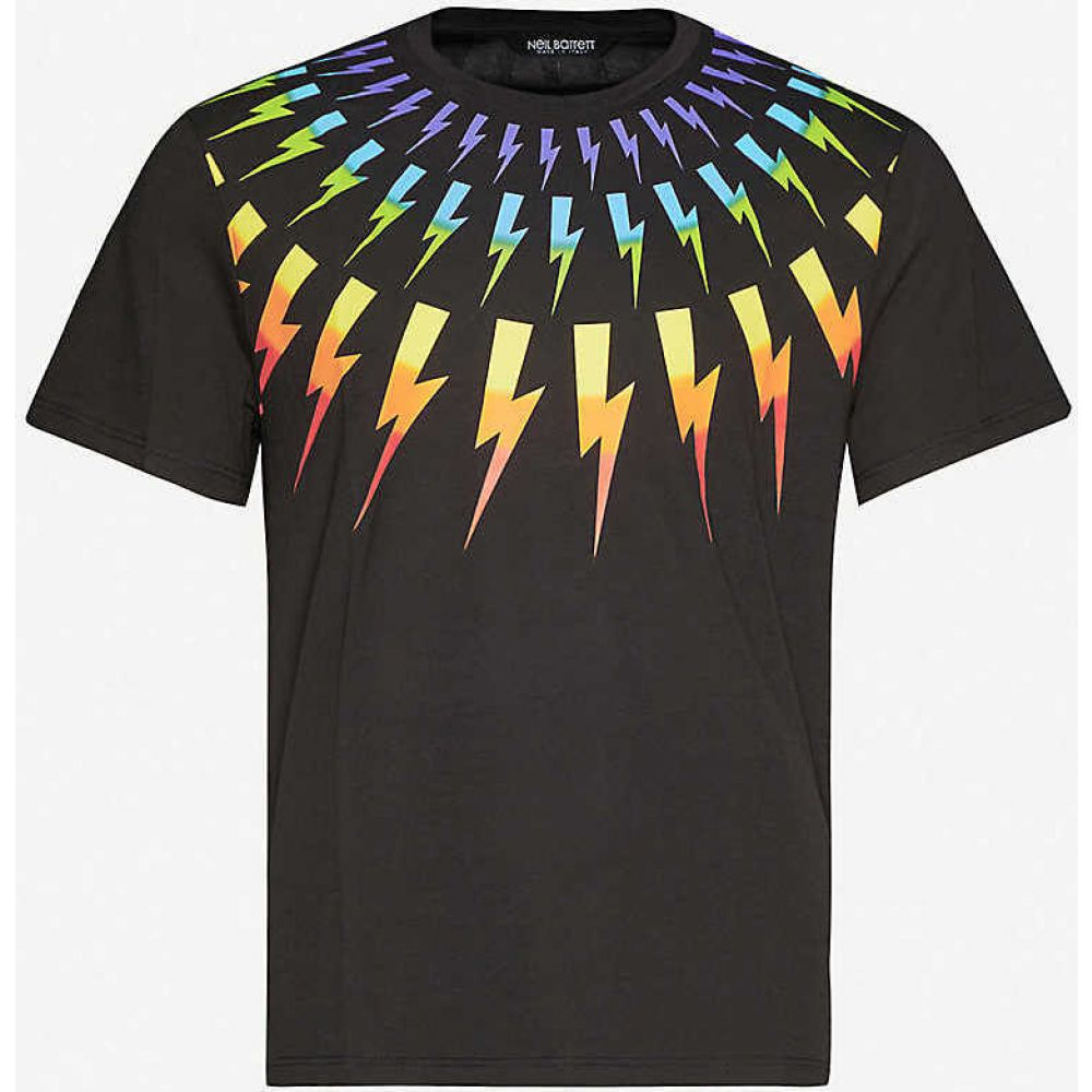 ニール バレット NEIL BARRETT メンズ Tシャツ トップス【Graphic-print cotton-jersey T-shirt】BLACK MULTI