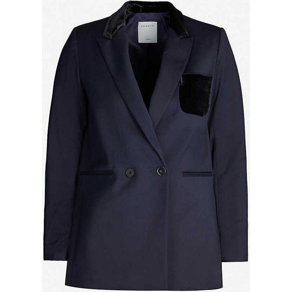 サンドロ SANDRO レディース スーツ・ジャケット アウター【Domtille wool-blend and velvet blazer】NAVY BLUE