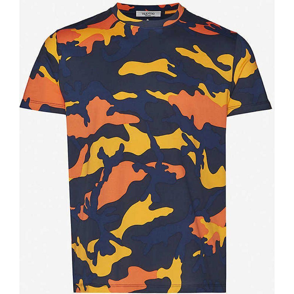 ヴァレンティノ VALENTINO メンズ Tシャツ トップス【Camouflage-pattern crewneck cotton-jersey T-shirt】Navy Orange Camo
