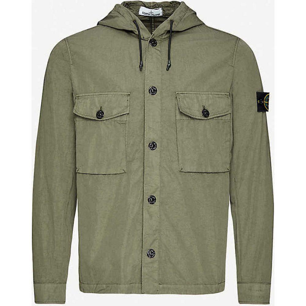 ストーンアイランド STONE ISLAND メンズ ジャケット オーバーシャツ アウター【Drawstring-hood creased canvas overshirt】Olive
