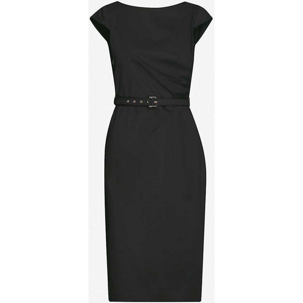 マックスマーラ MAX MARA レディース ワンピース ミドル丈 ワンピース・ドレス【Neris belted cotton-blend midi dress】BLACK