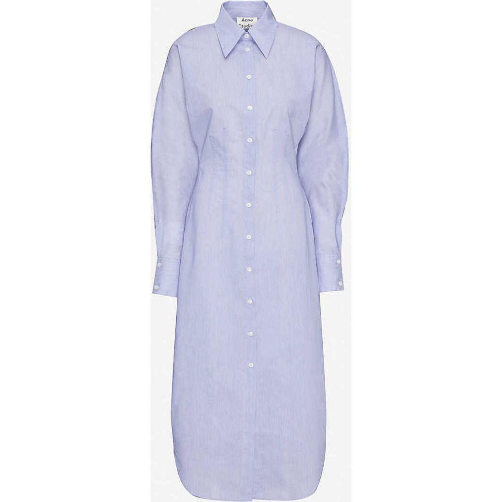 アクネ ストゥディオズ ACNE STUDIOS レディース ワンピース ミドル丈 ワンピース・ドレス【Button-up cotton-blend midi dress】Powder Blue