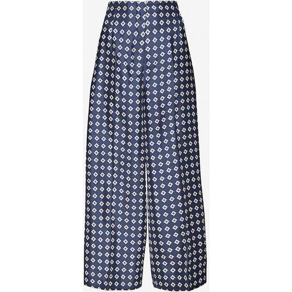 マックスマーラ S MAX MARA レディース ボトムス・パンツ 【Canasta geometric-print wide-leg high-rise silk trousers】DARK BLUE