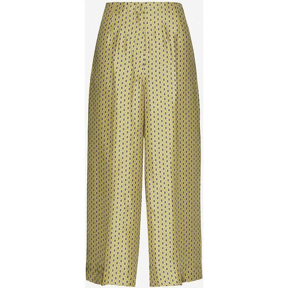 マックスマーラ S MAX MARA レディース ボトムス・パンツ 【Canasta geometric-print wide-leg high-rise silk trousers】Yellow