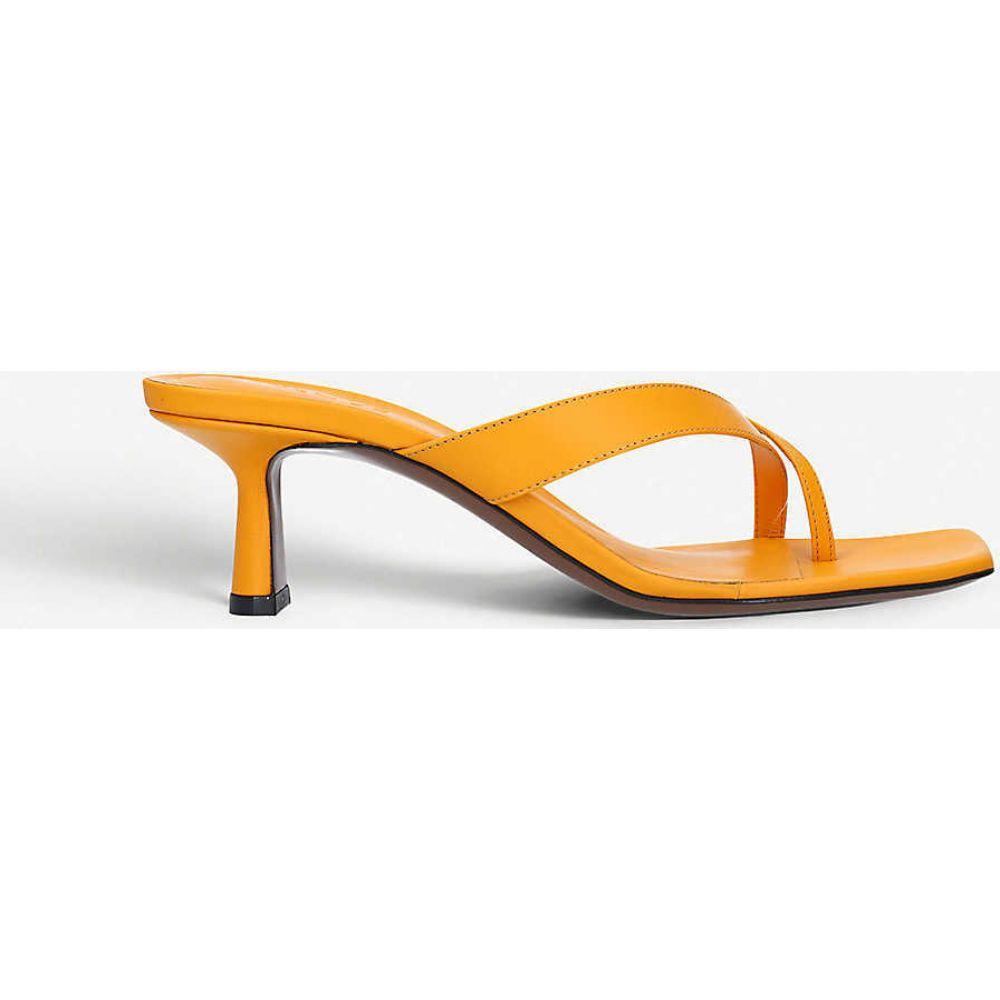 ネオアス NEOUS レディース サンダル・ミュール シューズ・靴【Florae backless leather heeled mules】MUSTARD