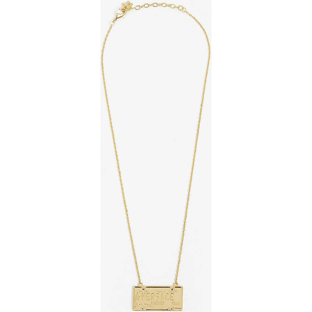 ヴェルサーチ VERSACE メンズ ネックレス ジュエリー・アクセサリー【Licence-plate brass necklace】Gold