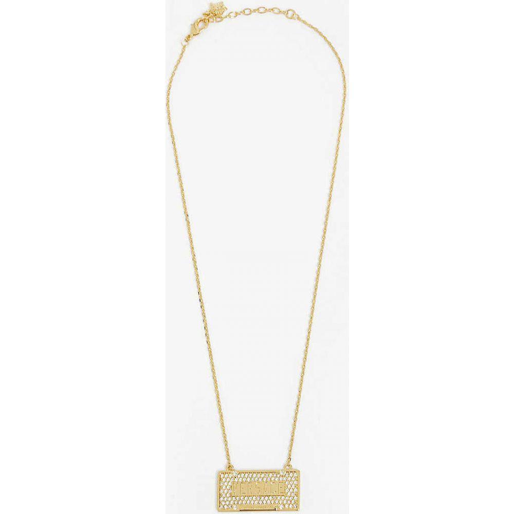 ヴェルサーチ VERSACE メンズ ネックレス ジュエリー・アクセサリー【Crystal-embellished brass licence plate necklace】Gold