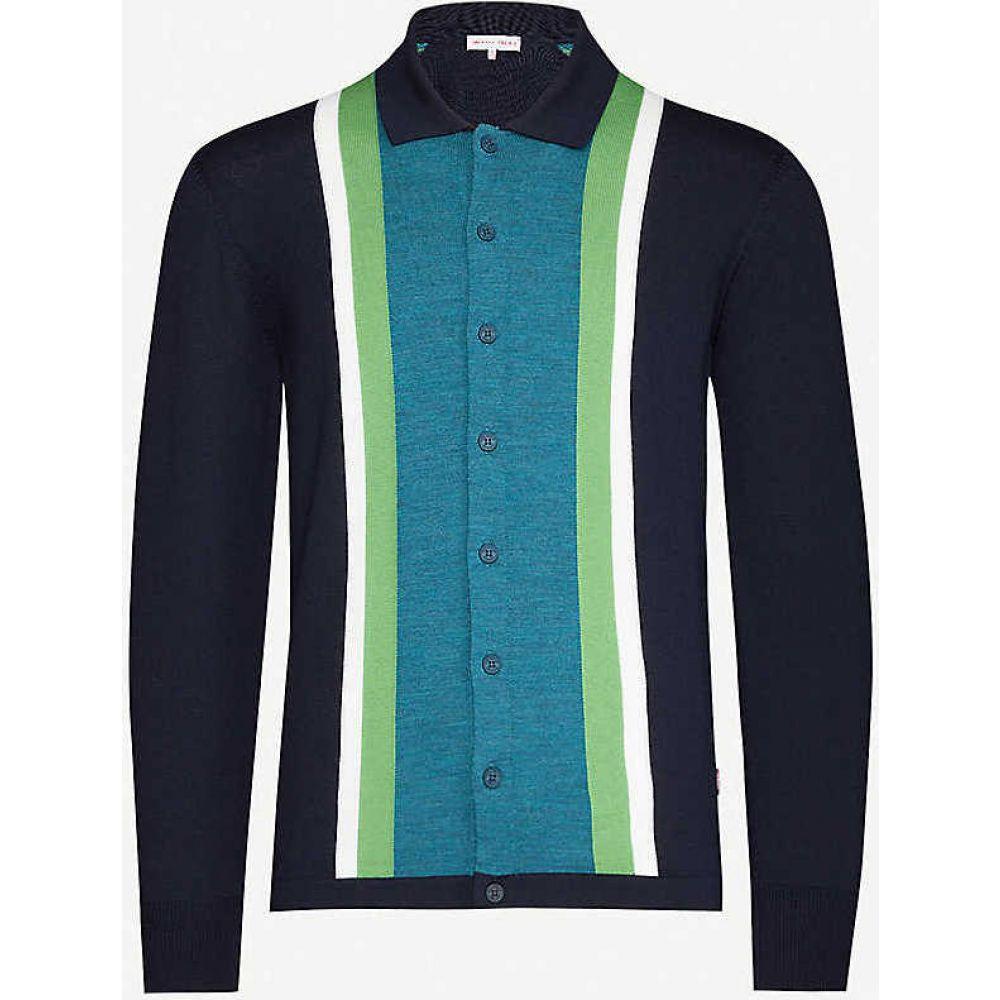 オールバー ブラウン ORLEBAR BROWN メンズ カーディガン トップス【Sinclair striped knitted cardigan】Navy Aqua Green