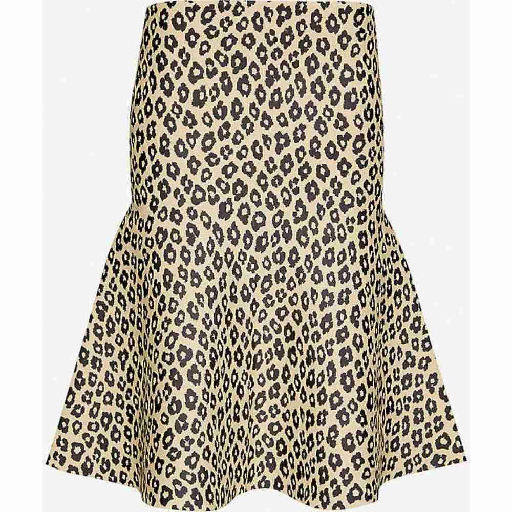 セオリー THEORY レディース ひざ丈スカート スカート【Leopard-print stretch-jersey midi skirt】Tan Khaki Black