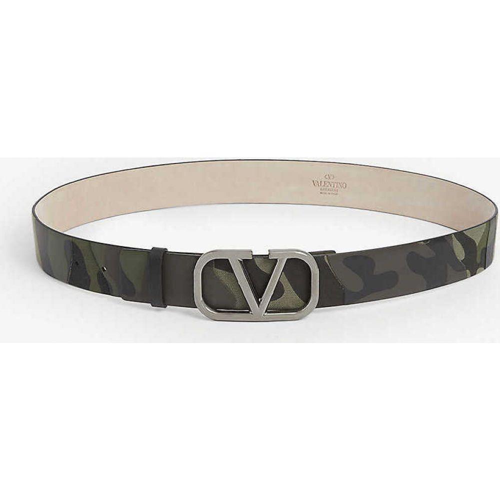 ヴァレンティノ VALENTINO メンズ ベルト 【Vlogo camouflage leather belt】Camo Green Nero