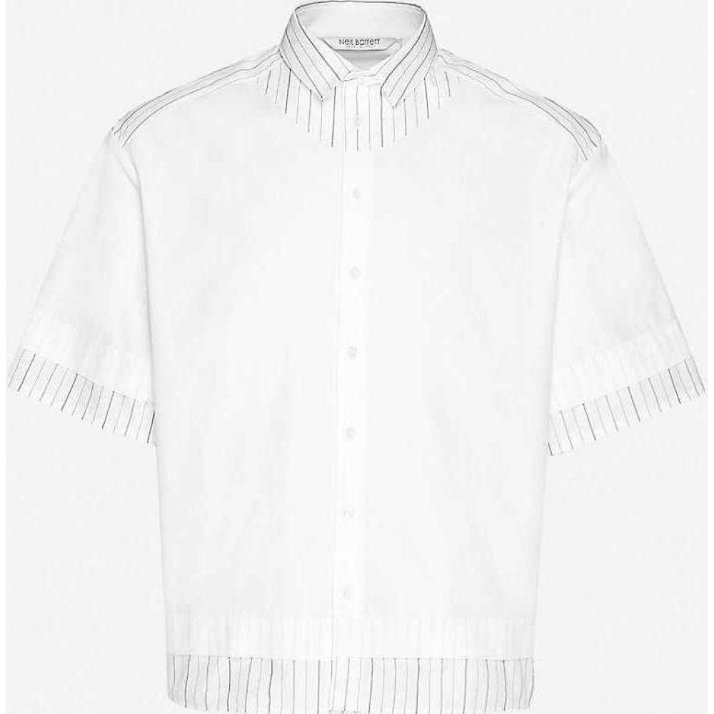 ニール バレット NEIL BARRETT メンズ 半袖シャツ トップス【Striped boxy-fit cotton shirt】White Black
