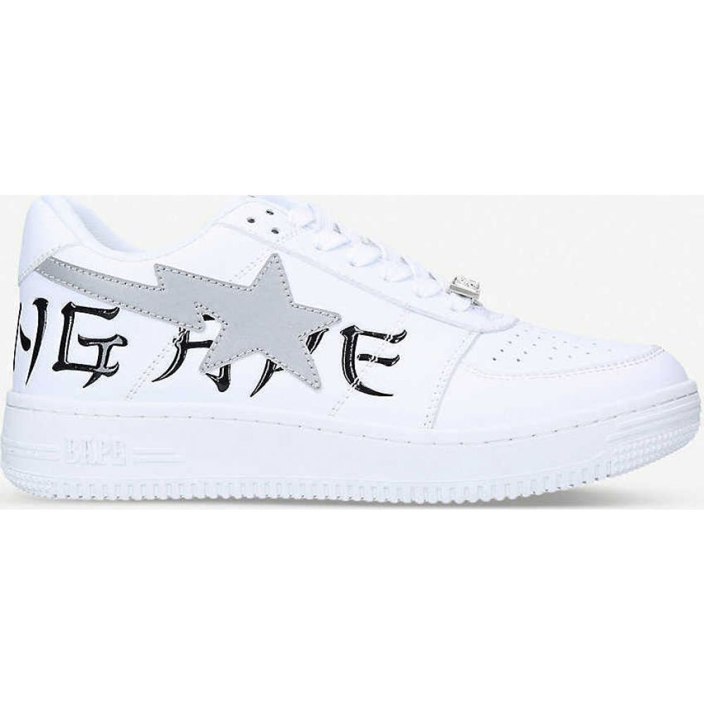 ア ベイシング エイプ A BATHING APE レディース スニーカー シューズ・靴【Logo-embroidered leather low-top trainers】WHITE