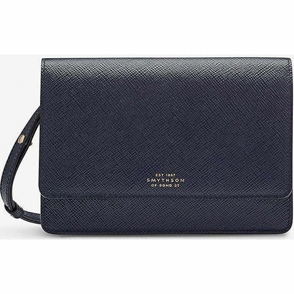 スマイソン SMYTHSON レディース 財布 【Panama cross-grained leather purse with strap】Navy