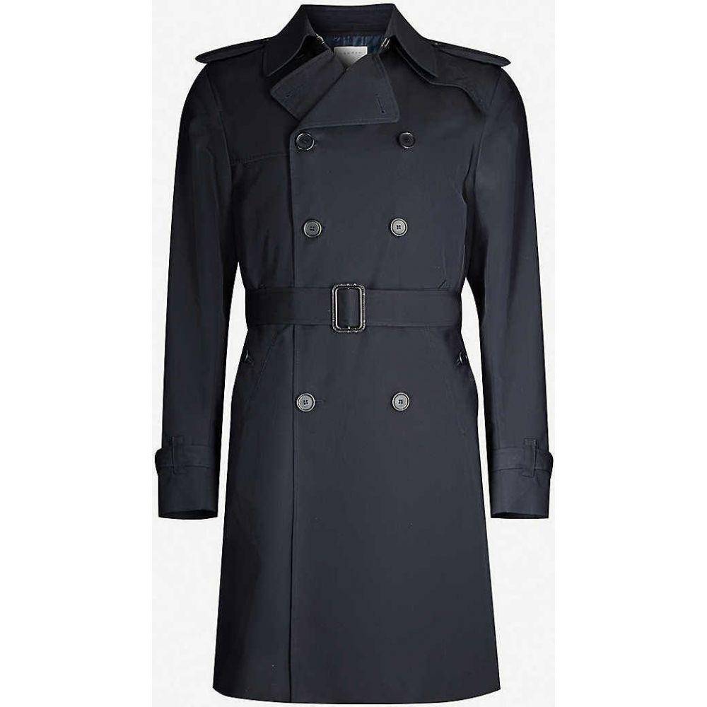 サンドロ SANDRO メンズ トレンチコート ダブルブレストコート アウター【Magnetic belted double-breasted cotton coat】NAVY BLUE