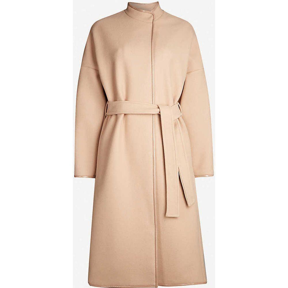 ピンコ PINKO レディース コート アウター【Sognare patent-trim wool-blend coat】Rosa-zucch.d acero