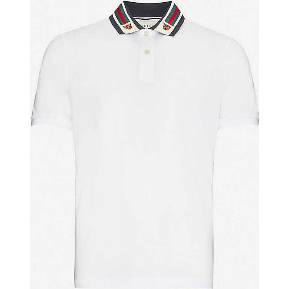 グッチ GUCCI メンズ ポロシャツ トップス【Tiger-embroidered cotton-pique polo shirt】WHITE