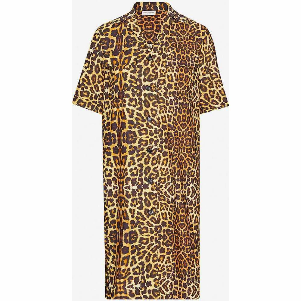 ドリス ヴァン ノッテン DRIES VAN NOTEN レディース ワンピース ミドル丈 ワンピース・ドレス【Leopard-print camp-collar cotton midi dress】COGNAC