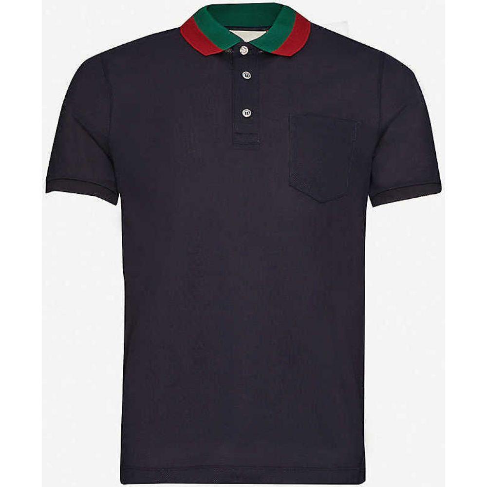 グッチ GUCCI メンズ ポロシャツ トップス【Web stripe-trimmed cotton-pique polo shirt】INK