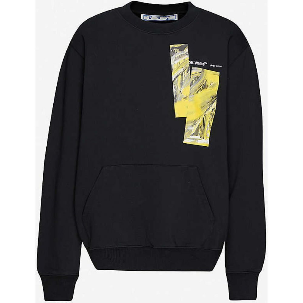 オフホワイト OFF-WHITE C/O VIRGIL ABLOH レディース スウェット・トレーナー トップス【Painting brand-print cotton-jersey sweatshirt】BLACK YELLOW