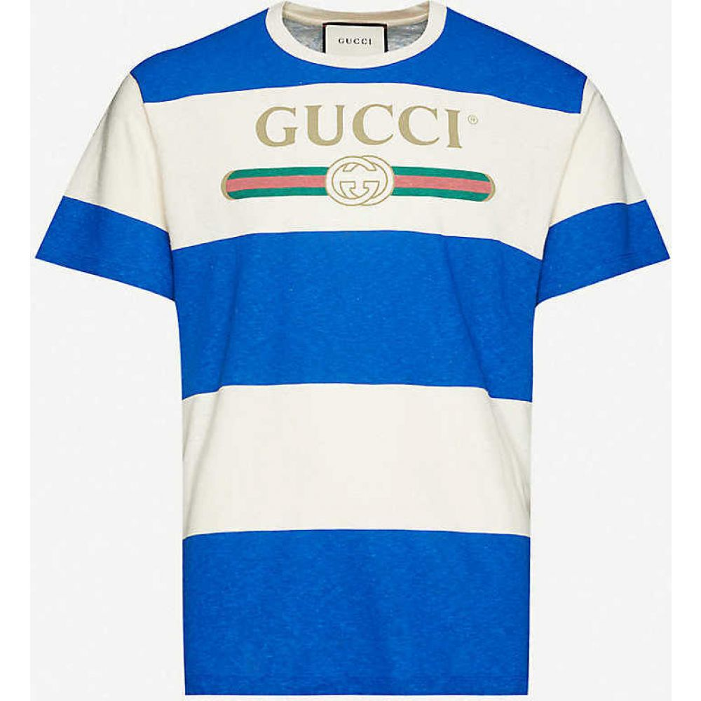 グッチ GUCCI メンズ Tシャツ トップス【Logo-print cotton-jersey T-shirt】NATURAL MULTI
