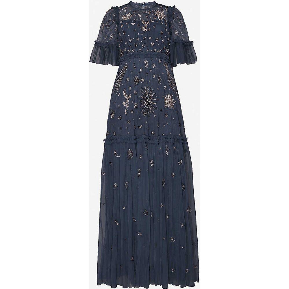 ニードル アンド スレッド NEEDLE AND THREAD レディース パーティードレス ワンピース・ドレス【Ether crystal-embellished recycled-tulle gown】Midnight Blue