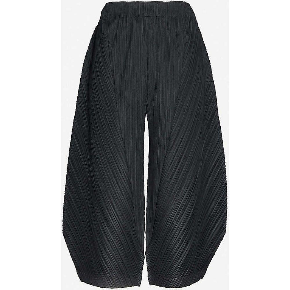 プリーツ プリーズ イッセイ ミヤケ PLEATS PLEASE ISSEY MIYAKE レディース クロップド ボトムス・パンツ【Cropped wide-leg high-rise woven pleated trousers】BLACK