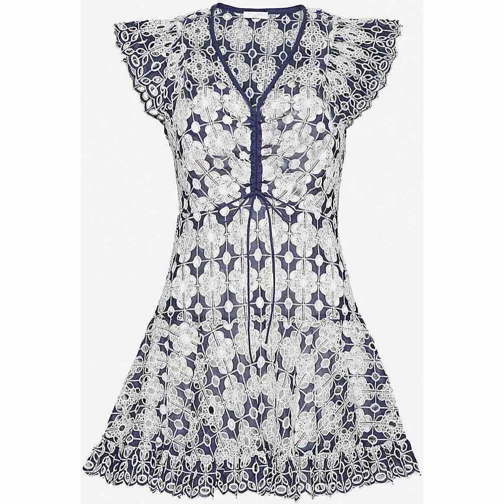 サンドロ SANDRO レディース ワンピース ミニ丈 ワンピース・ドレス【Floral-print cotton-blend mini dress】NAVY BLUE