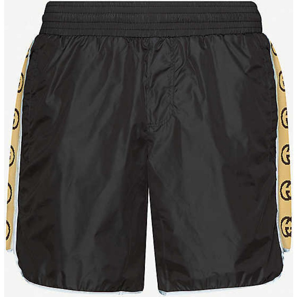 グッチ GUCCI メンズ 海パン ショートパンツ 水着・ビーチウェア【Logo-tape relaxed-fit swim shorts】BLACK