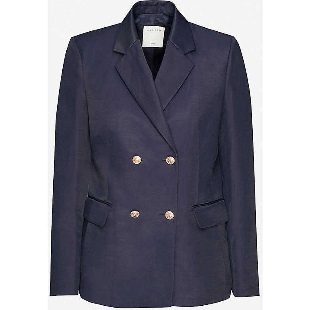 サンドロ SANDRO レディース スーツ・ジャケット アウター【Mady double-breasted woven blazer】NAVY BLUE