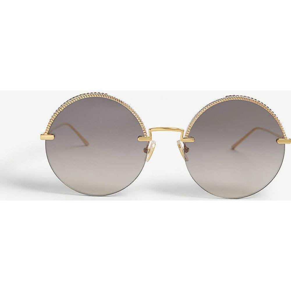 ブシュロン BOUCHERON レディース メガネ・サングラス ラウンド【Bc0075s round-frame sunglasses】GOLD