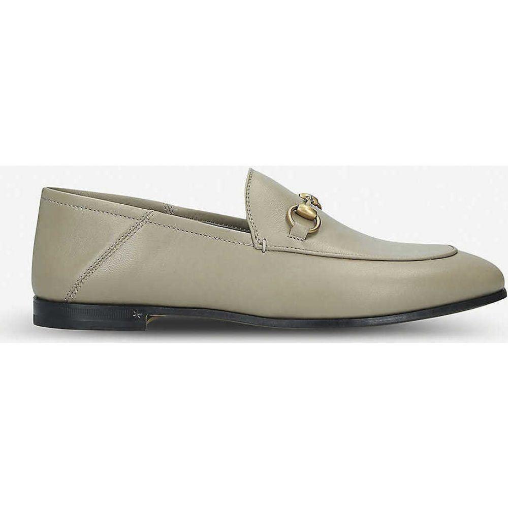 グッチ GUCCI レディース ローファー・オックスフォード シューズ・靴【Brixton leather loafers】BROWN