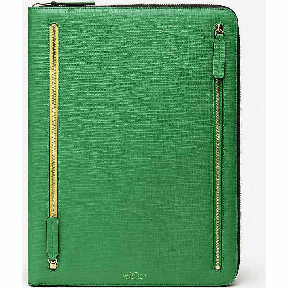 スマイソン SMYTHSON レディース ポーチ 【Large contrast zip leather folio】Emerald