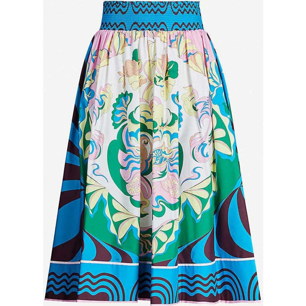 エミリオ プッチ EMILIO PUCCI レディース ひざ丈スカート スカート【High-waist pleated signature-print stretch-cotton midi skirt】Prugna Turchese