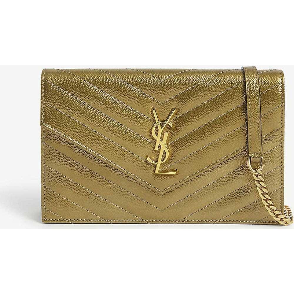 イヴ サンローラン SAINT LAURENT レディース ショルダーバッグ チェーンウォレット バッグ【Monogram metallic leather wallet-on-chain】Antic Gold