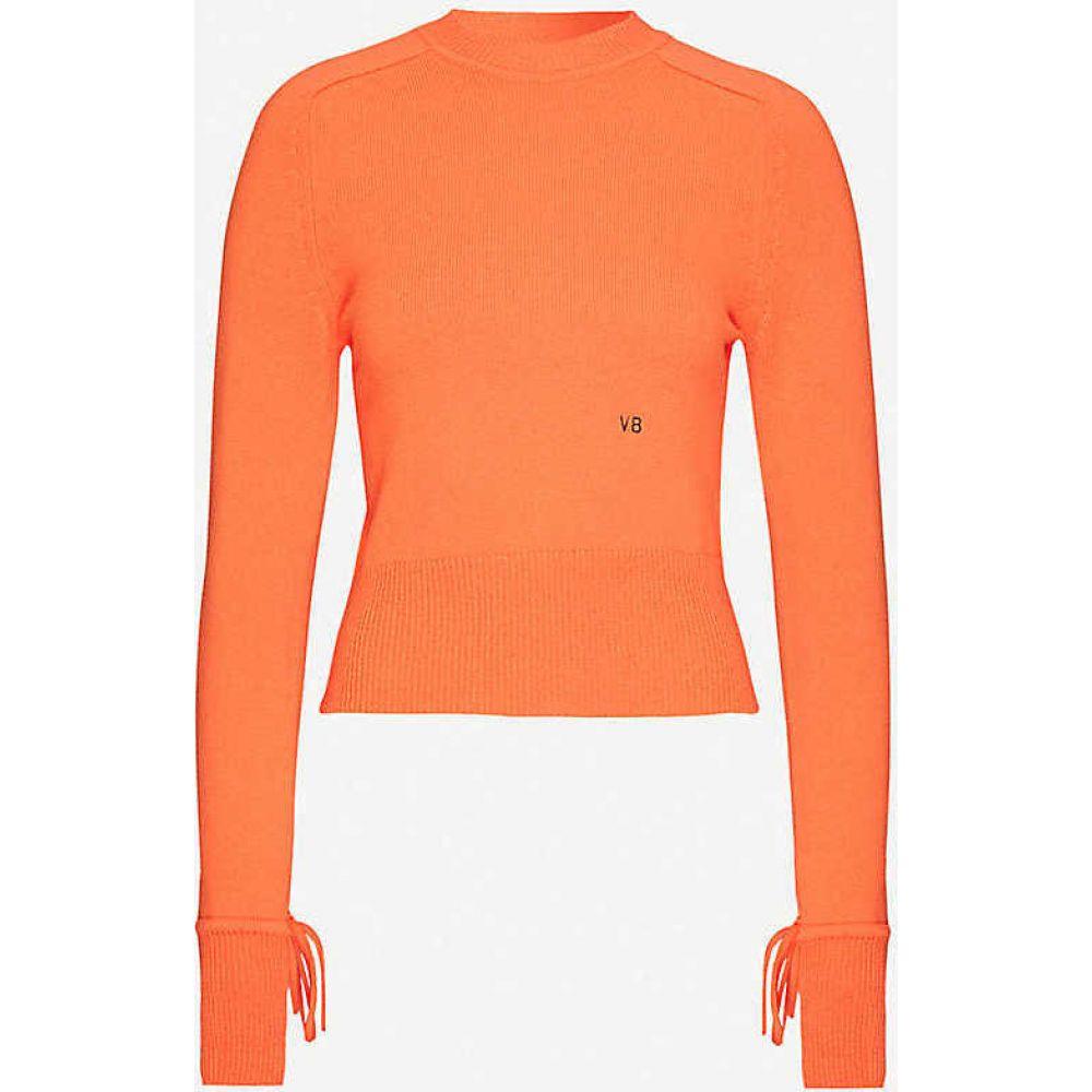 ヴィクトリア ベッカム VICTORIA BECKHAM レディース ニット・セーター トップス【Logo-embroidered stretch-cashmere jumper】Orange