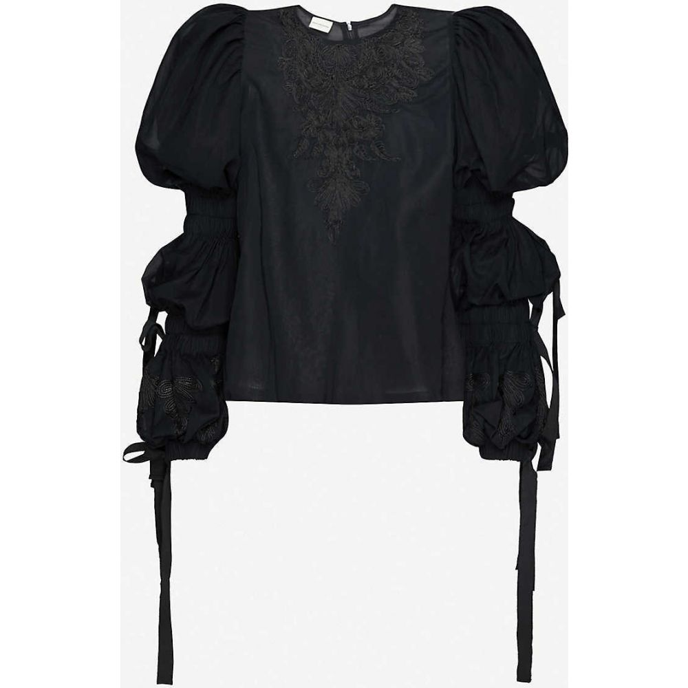 ドリス ヴァン ノッテン DRIES VAN NOTEN レディース トップス 【Puff-sleeve embroidered cotton top】BLACK