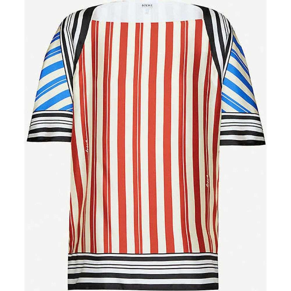 ロエベ LOEWE レディース トップス 【Logo-print striped silk top】BLUE RED WHITE