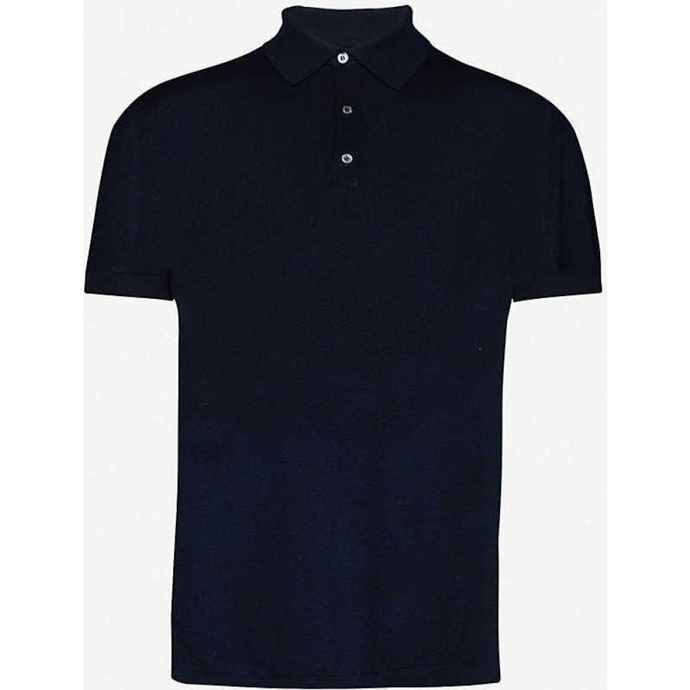ラルフ ローレン RALPH LAUREN PURPLE LABEL メンズ ポロシャツ トップス【Classic silk-blend polo shirt】Navy