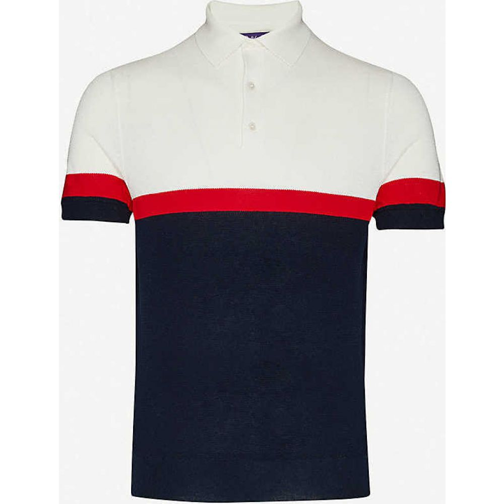ラルフ ローレン RALPH LAUREN PURPLE LABEL メンズ ポロシャツ トップス【Stripe silk-blend polo shirt】Navy