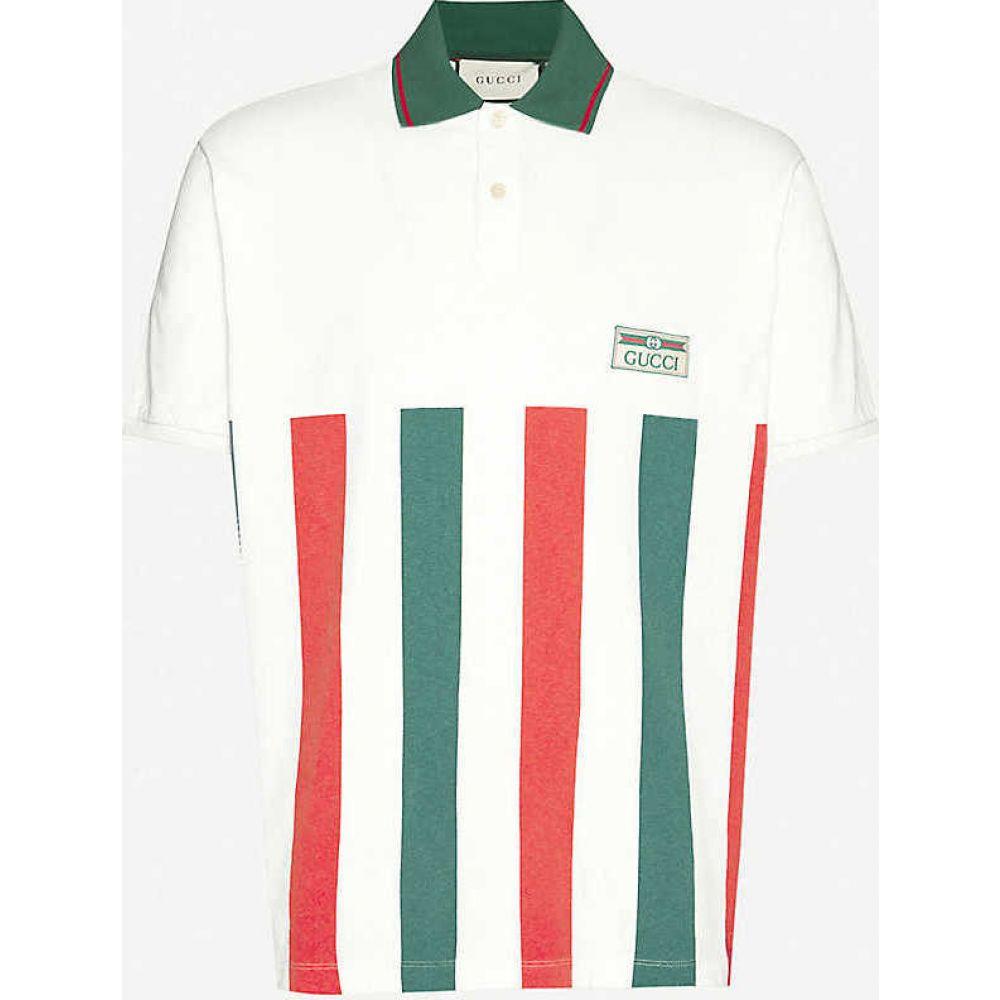 グッチ GUCCI メンズ ポロシャツ トップス【Logo-print cotton-jersey T-shirt】White Green Red
