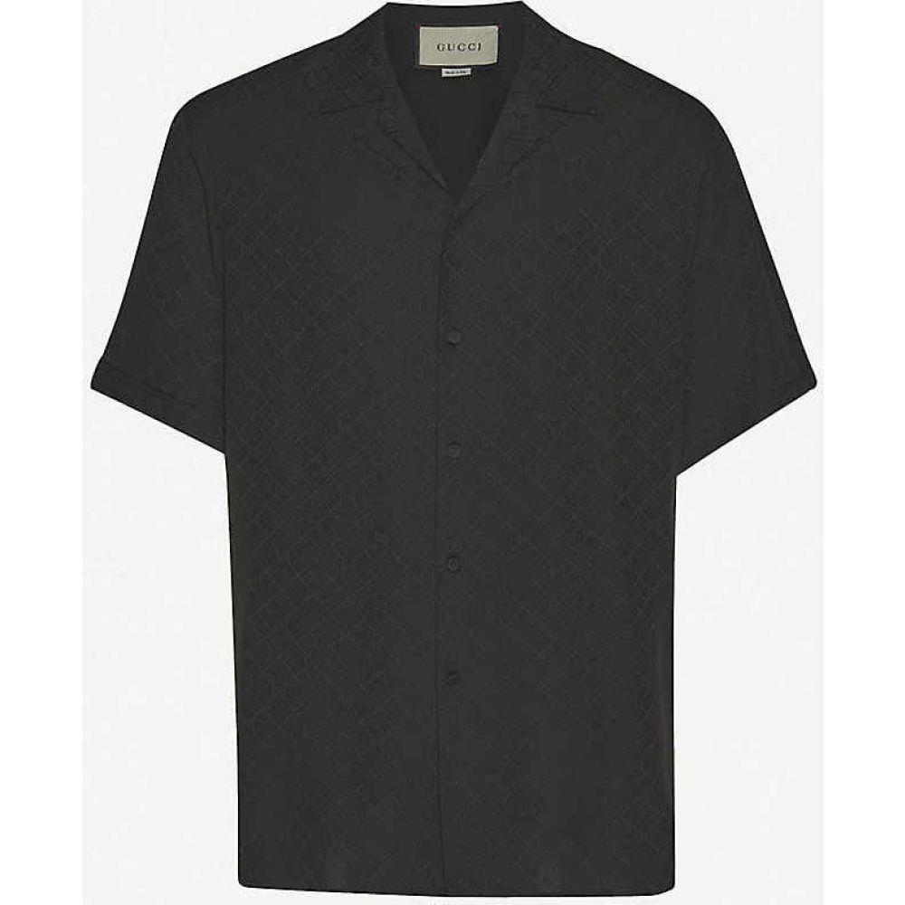 商舗 グッチ メンズ トップス 半袖シャツ サイズ交換無料 Logo-print BLACK shirt silk GUCCI 毎日がバーゲンセール