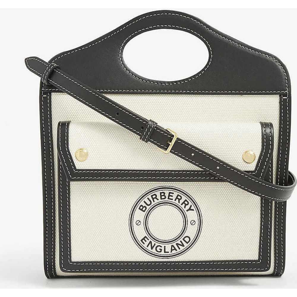 バーバリー BURBERRY レディース ショルダーバッグ バッグ【Mini logo-print canvas and leather pocket bag】BLACK