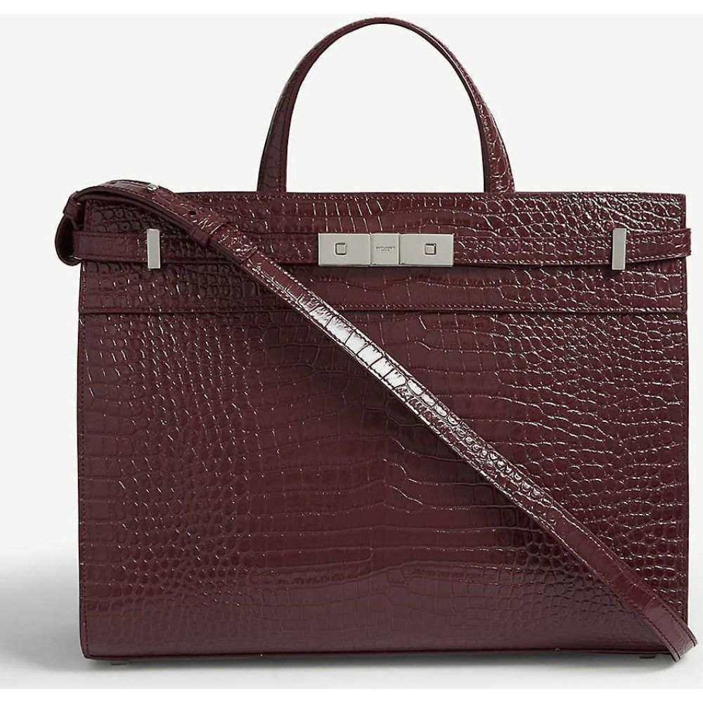 イヴ サンローラン SAINT LAURENT レディース トートバッグ バッグ【Manhattan croc-embossed leather tote】Red silver
