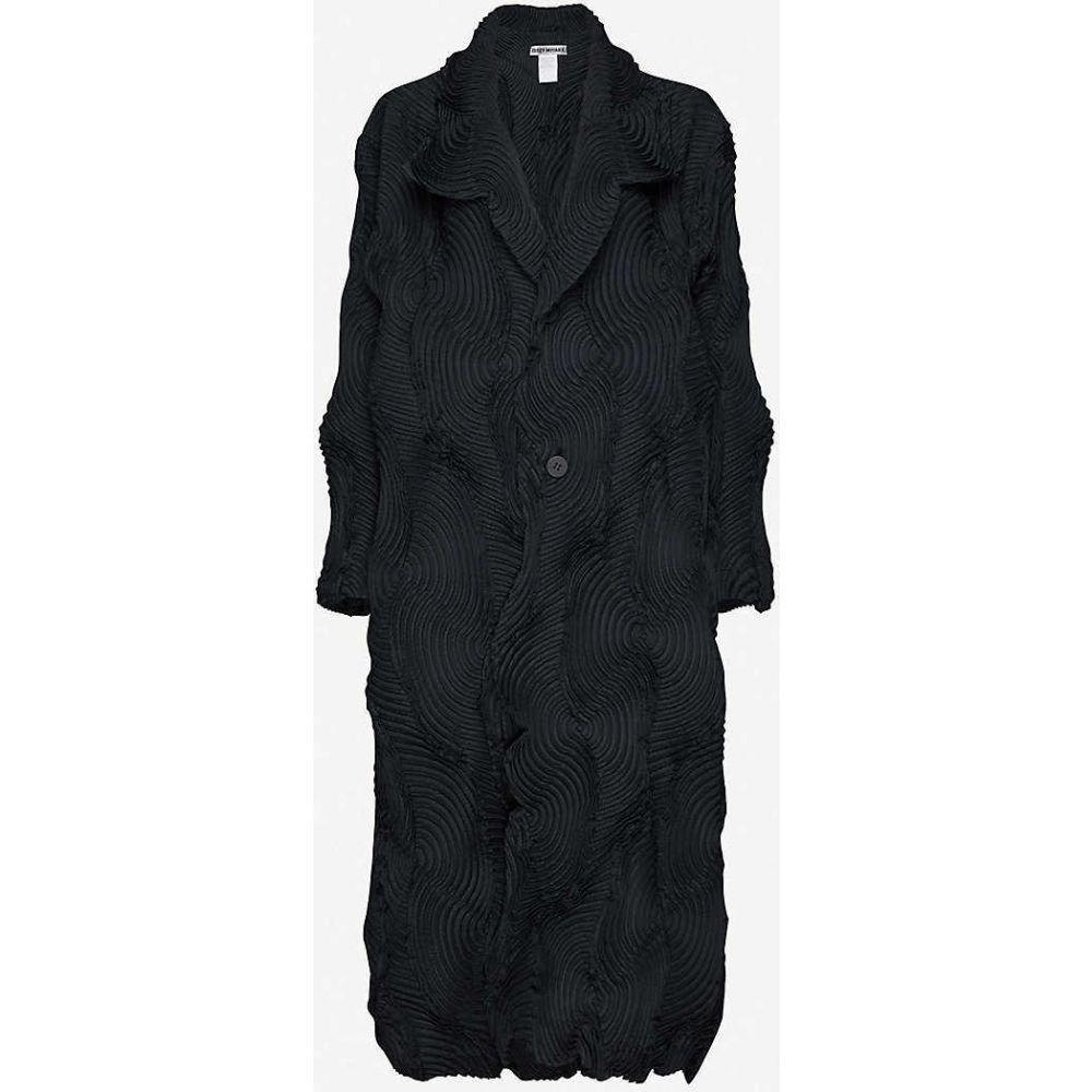 イッセイ ミヤケ ISSEY MIYAKE レディース コート アウター【Swirl textured single-breasted woven coat】BLACK