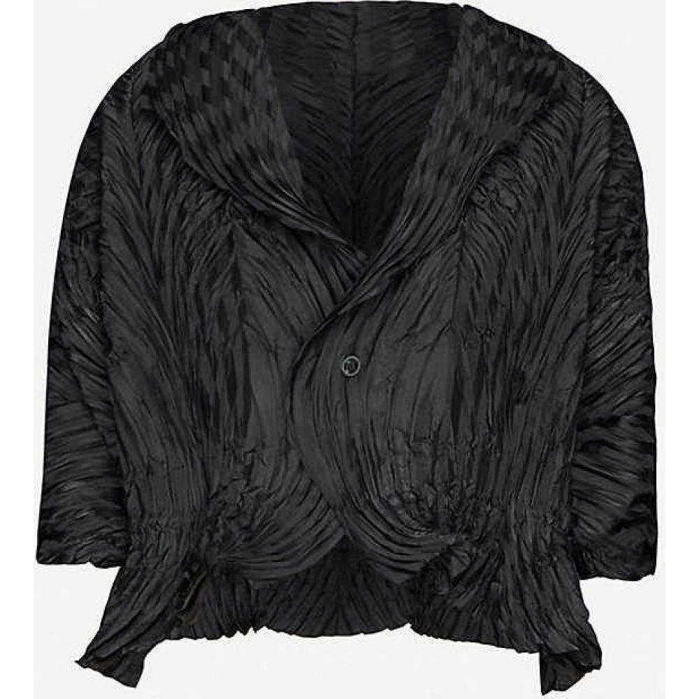 イッセイ ミヤケ ISSEY MIYAKE レディース ジャケット アウター【Pleated cropped woven jacket】BLACK