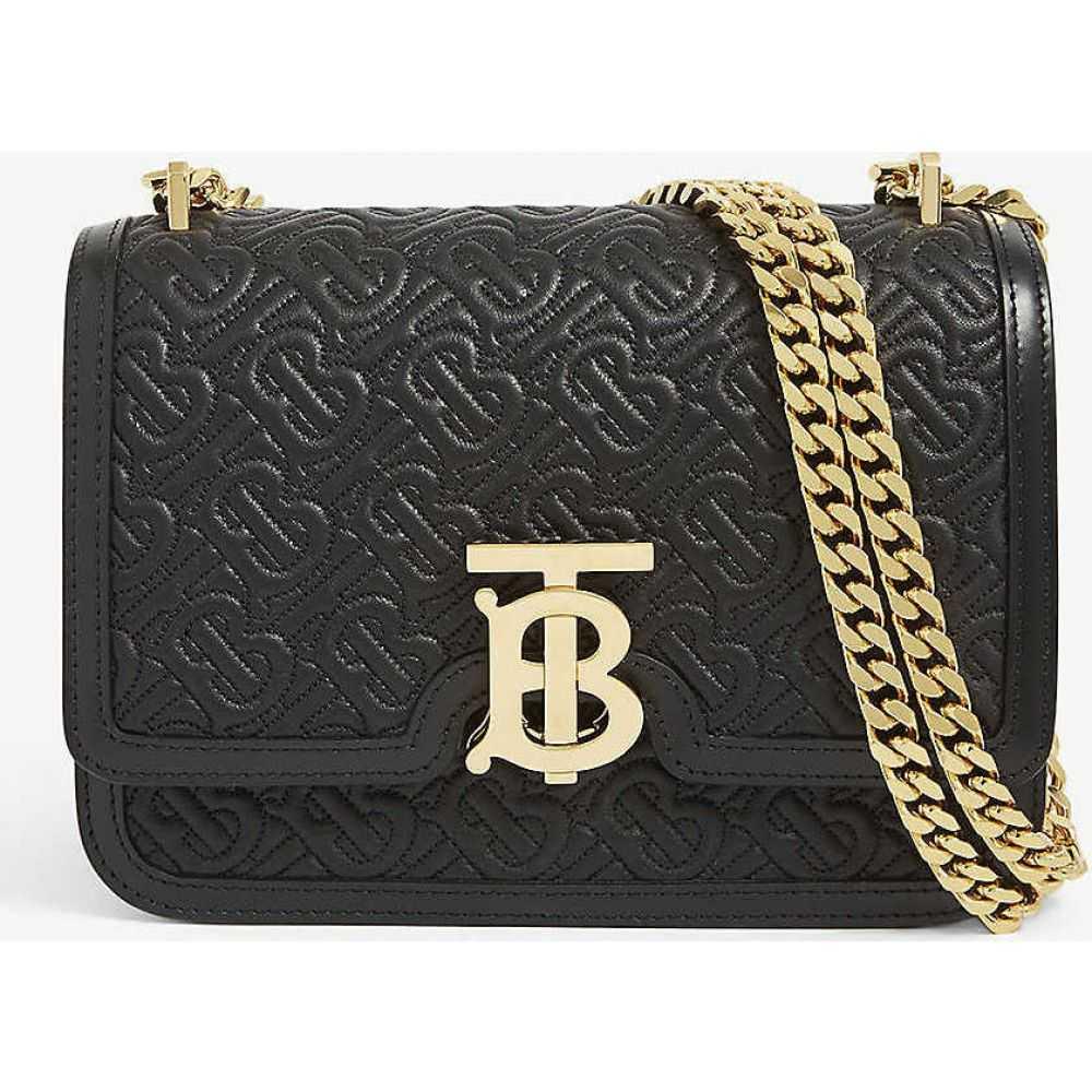 バーバリー BURBERRY レディース ショルダーバッグ バッグ【TB monogram small leather shoulder bag】BLACK