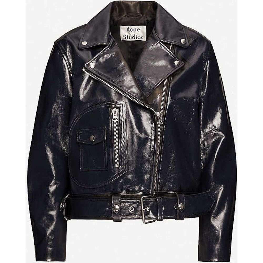 アクネ ストゥディオズ ACNE STUDIOS レディース レザージャケット ライダース アウター【Leather biker jacket】Ink Blue