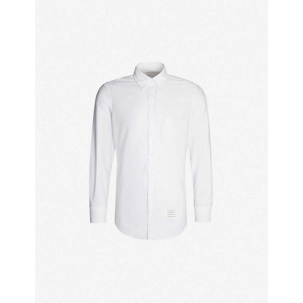 トム ブラウン THOM BROWNE メンズ シャツ トップス【oxford regular-fit branded-neckline cotton shirt】WHITE