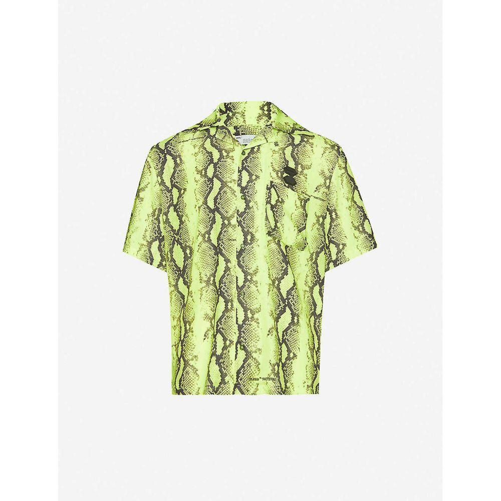 オフホワイト OFF-WHITE C/O VIRGIL ABLOH メンズ 半袖シャツ トップス【snakeskin-print oversized twill shirt】Fluorescent Yellow