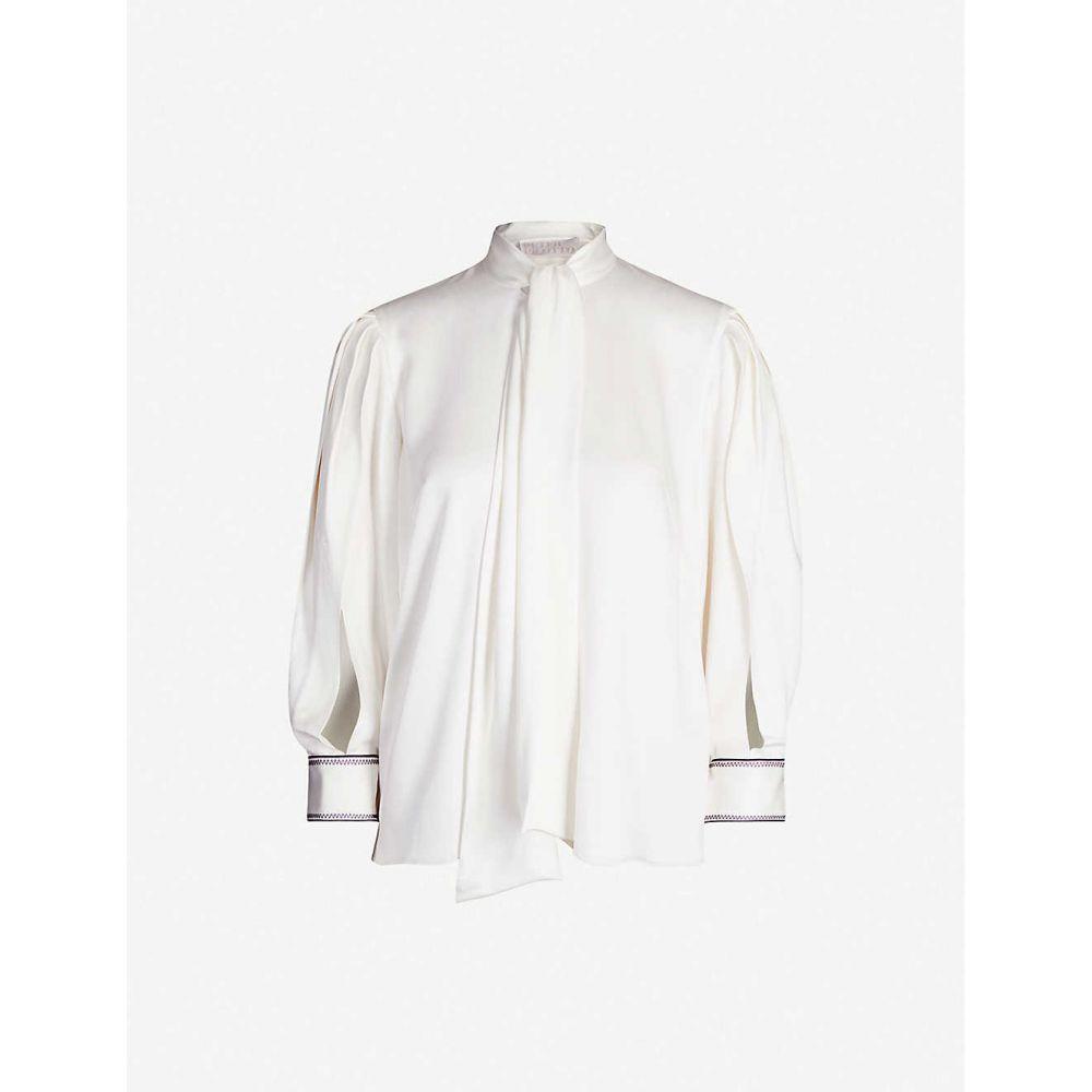 ピーター ピロット PETER PILOTTO レディース ブラウス・シャツ トップス scarf neck satin crepe shirt WhitewO8nPk0